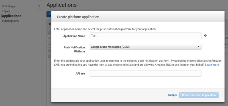 Push Notification via AWS